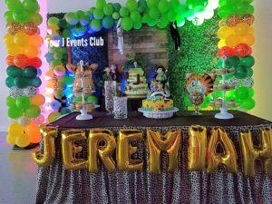 Cake table safari baby shower